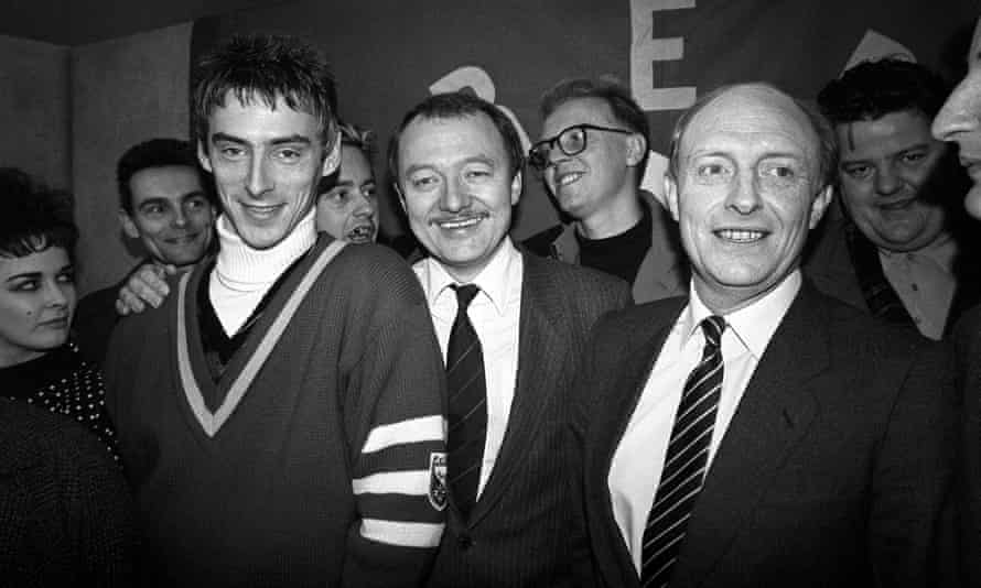 With Ken Livingstone and Neil Kinnock at the launch of Red Wedge, an initiative to get young people interested in politics, 1985.