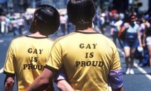 Two men on a gay parade in New York in the 70s
