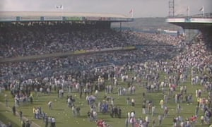 The scene at Hillsborough at 4.17pm, an hour after the disaster unfolded.