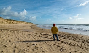 Lone person on beach Of Grenettes, Ile De Re, Poitou Charente, Charente Maritime, France