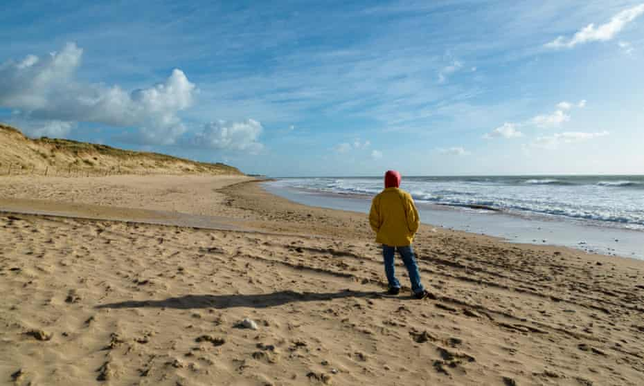 Lone person on beach Of Grenettes, Ile De Re, Poitou Charente, Charente Maritime, France