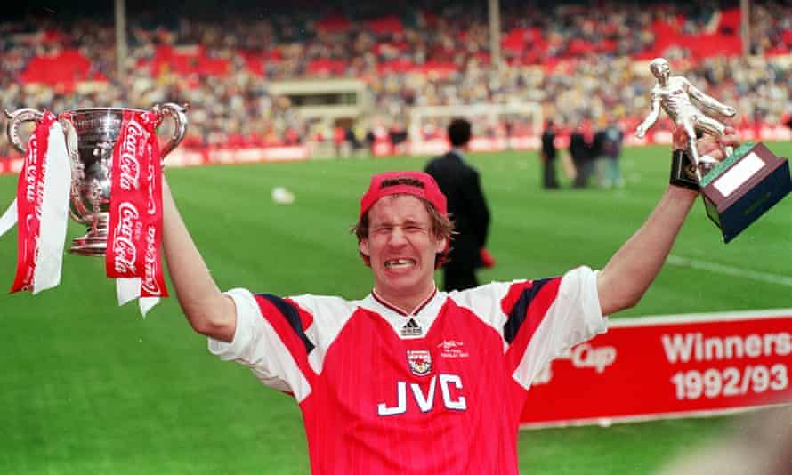 Paul Merson celebrates Arsenal's Coca-Cola Cup final victory over Sheffield Wednesday at Wembley in 1993.