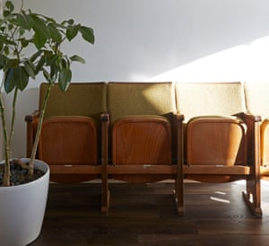 Space savers: repurposed theatre seats fold away when not in use.