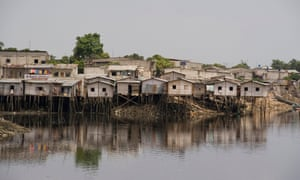 Houses built on stilts over the river in Guayaquil, Ecuador