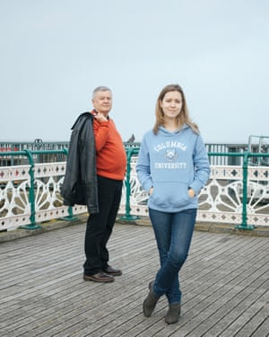 Robert Thomas and his daughter, Lowri, on Penarth pier