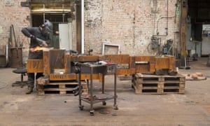Work takes place on Antony Gormley's LOOK II which is formed of 22 iron blocks