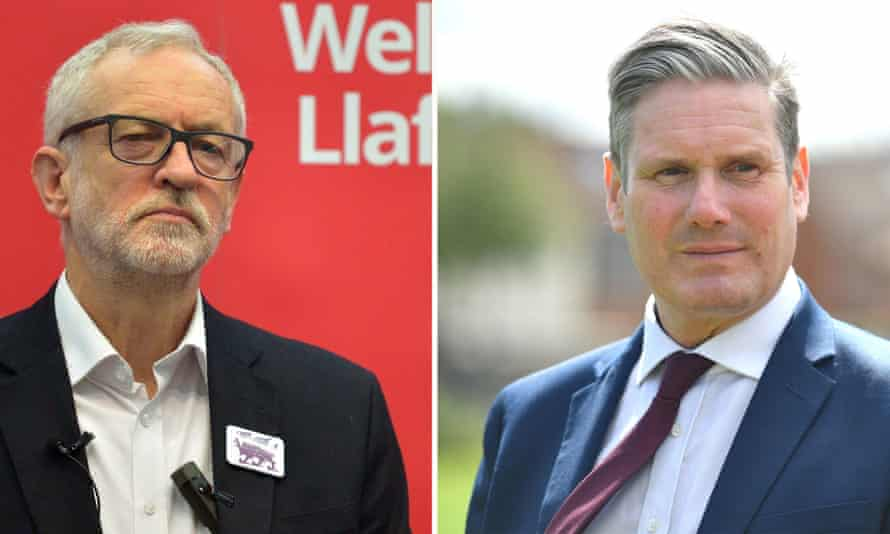 Former Labour leader Jeremy Corbyn and the current leader, Keir Starmer