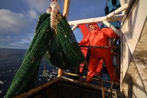 Crew members of the Radiant Star fishing in Shetland