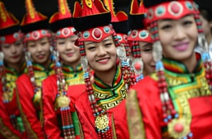 Performers celebrate the 70th anniversary of the autonomous region of Inner Mongolia, Hohhot, China