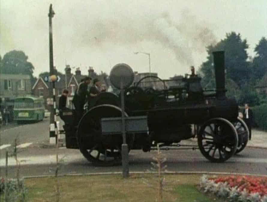 The family taking their steam tractor for a spin