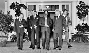 Prime minister Bob Hawke (second from right) with his ministers, Canberra, 1988.