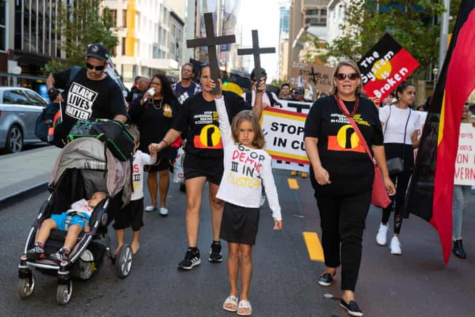 Protesters at a Stop Black Deaths in Custody rally in Perth on 15 April 2021.