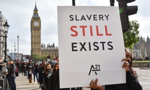 A protest against human trafficking and modern slavery in London.