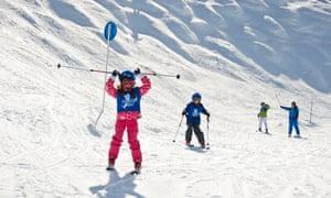Children having a ski lesson