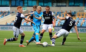 Louie Sibley goes through the Millwall defence before scoring the first of his three goals against them in June.