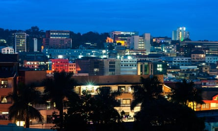 Night view of the central business district in the Ugandan capital Kampala