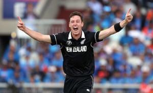 Matt Henry celebrates taking his third wicket.