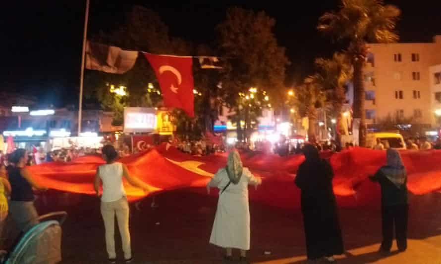 One of the nightly rallies in solidarity with the Turkish government, Balıkesir.