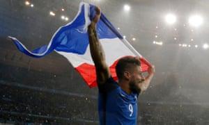 France v Iceland - EURO 2016 - Quarter FinalFootball Soccer - France v Iceland - EURO 2016 - Quarter Final - Stade de France, Saint-Denis near Paris, France - 3/7/16 France's Olivier Giroud celebrates at the end of the game REUTERS/Christian Hartmann Livepic