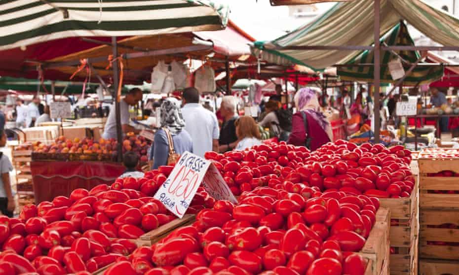 Tomatoes on sale at the open air market of Piazza della Repubblica, Turin