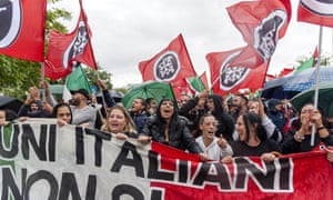 Demonstrators from the Italian far-right movement CasaPound