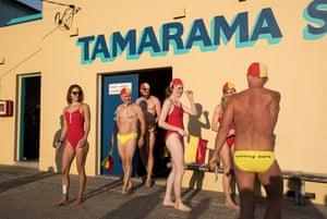 "Lifesavers gather at Sydney's Tamarama beach before it becomes ""Glamarama"" for rehearsal."