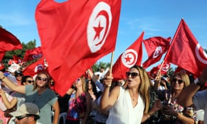 Supporters of Tunisia's former defence minister and presidential candidate Abdelkrim Zbidi in Monastir.