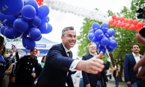 Austria's Norbert Hofer reaching out to his supporters.