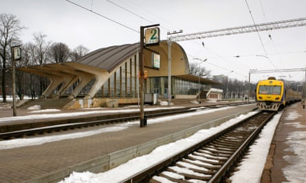 Modern Latvian Railways electric train at Dubulti station, Latvia.