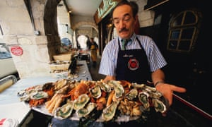 Oysters and various seafood dishes