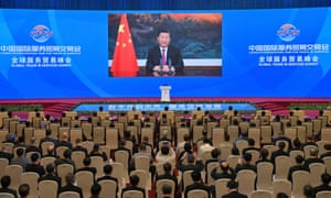 Chinese President Xi Jinping addresses the Global Trade in Services Summit of the 2021 China International Fair for Trade in Services via video today
