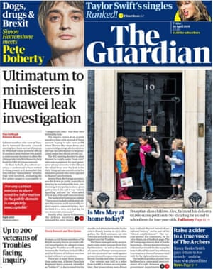 The Guardian front page 26 April 2019