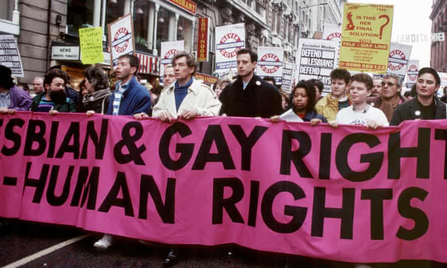 A march in Manchester, UK, 1988, highlighting Clause 28