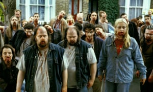 Shaun of the Dead film still, a crowd of zombies