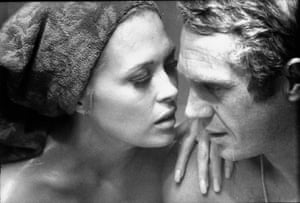 Faye Dunaway and Steve McQueen rehearsing on set for the Thomas Crown Affair, 1967,