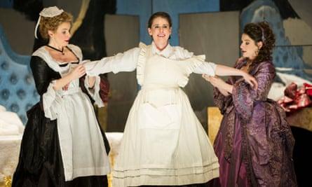 Anna Devin (Susanna), Naomi O'Connell (Cherubino) and Elizabeth Watts (Countess Almaviva) in Mozart's Marriage of Figaro.