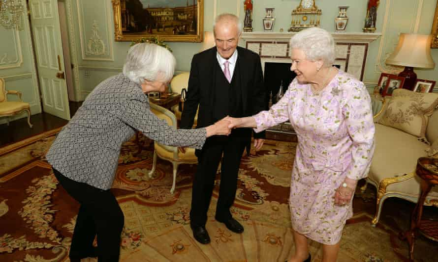Peter Maxwell Davies, with Judith Weir, the new Master of the Queen's Music, during a private audience with the Queen in July 2014.