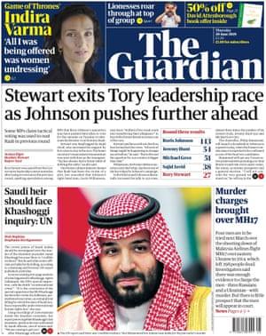 Guardian front page, Thursday 20 June 2019