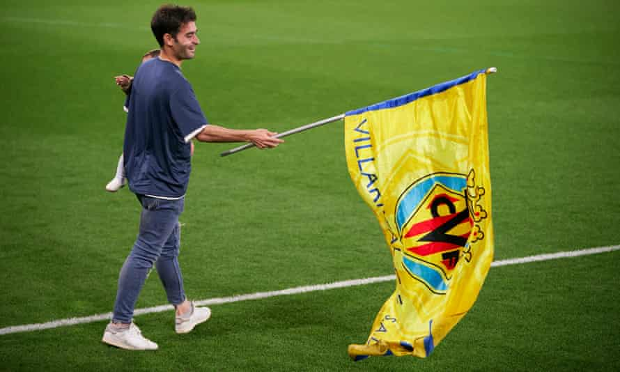 Manuel Trigueros of Villarreal celebrates winning the Europa League at the club's homecoming ceremony after defeating Manchester United in the final in Gdansk.