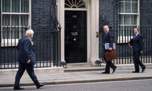 (From left) Boris Johnson, Michael Gove and Liam Fox arrive for the cabinet meeting