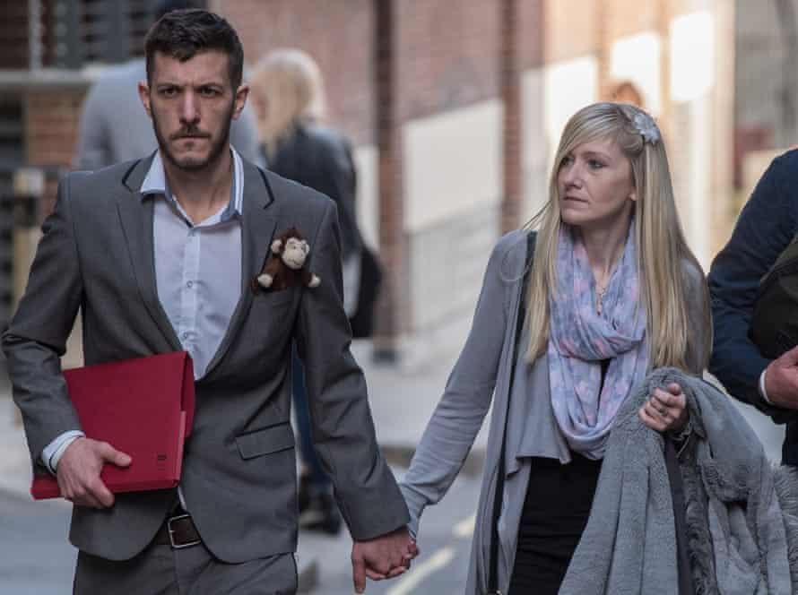 Chris Gard and Connie Yates leave the Royal Courts of Justice in London.