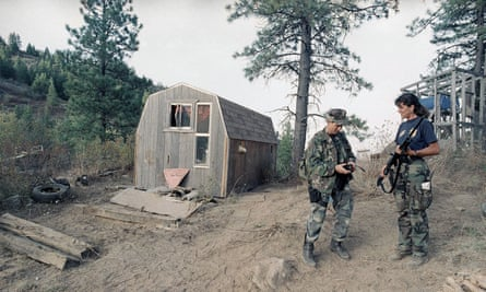 Alcohol, Tobacco and Firearms agents stand next to the outbuilding located near the Randy Weaver home near Naples, Idaho.