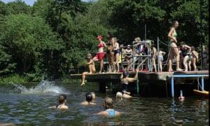 The women's bathing pond in Hampstead Heath, London.