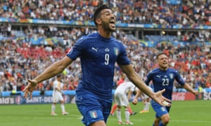 Graziano Pelle celebrates after scoring the second to seal the win for Italy.