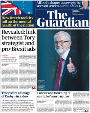 Guardian front page, Thursday 4 April 2019