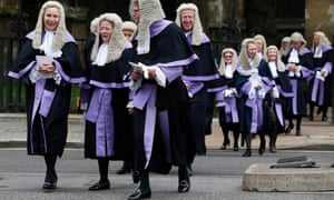 Judges walk from Westminster Abbey to the Houses of Parliament after a service to mark the start of the legal year in October 2013