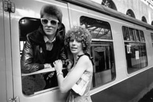 David Bowie is seen off at the station by his wife Angie in 1973