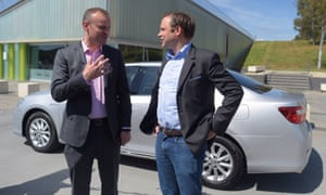 ACT chief minister Andrew Barr (left) speaks to Uber Australia general manager David Rohrsheim