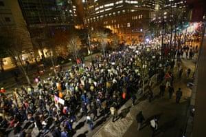 Marchers on 2nd Avenue in Seattle, Washington.
