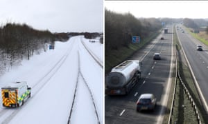 A snow-bound motorway juxtaposed with a sunny one